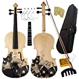 Aliyes Distinctive Artistic Violin Set Designed for Beginners/Students/Kids/adults with Hard Case,Bow,Rosin,Extra Strings (4/