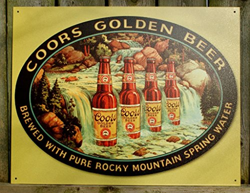 Coors Golden Beer Tin Metal Sign : Waterfall