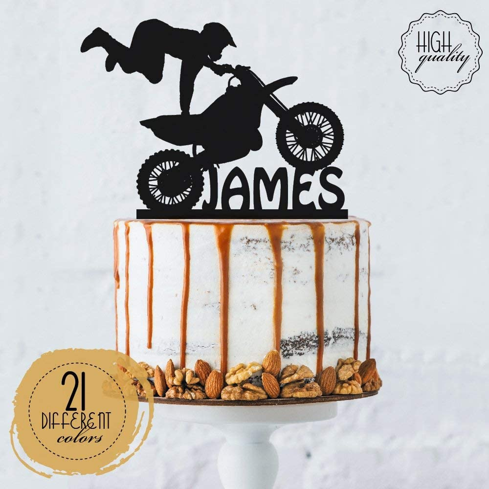 Dirt Bike Motor Cross 2 Wheeler Cake Topper Yamaha Any Name /& Age Birthday 6 7