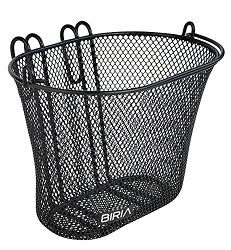 Biria Basket with Hooks Black, Front, Removable, Wire mesh Small, Kids Bicycle Basket, - Basket Bicycle Girl