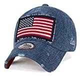 ililily USA Flag Patch Denim Cotton Vintage Distressed Baseball Cap Trucker Hat, Blue Denim