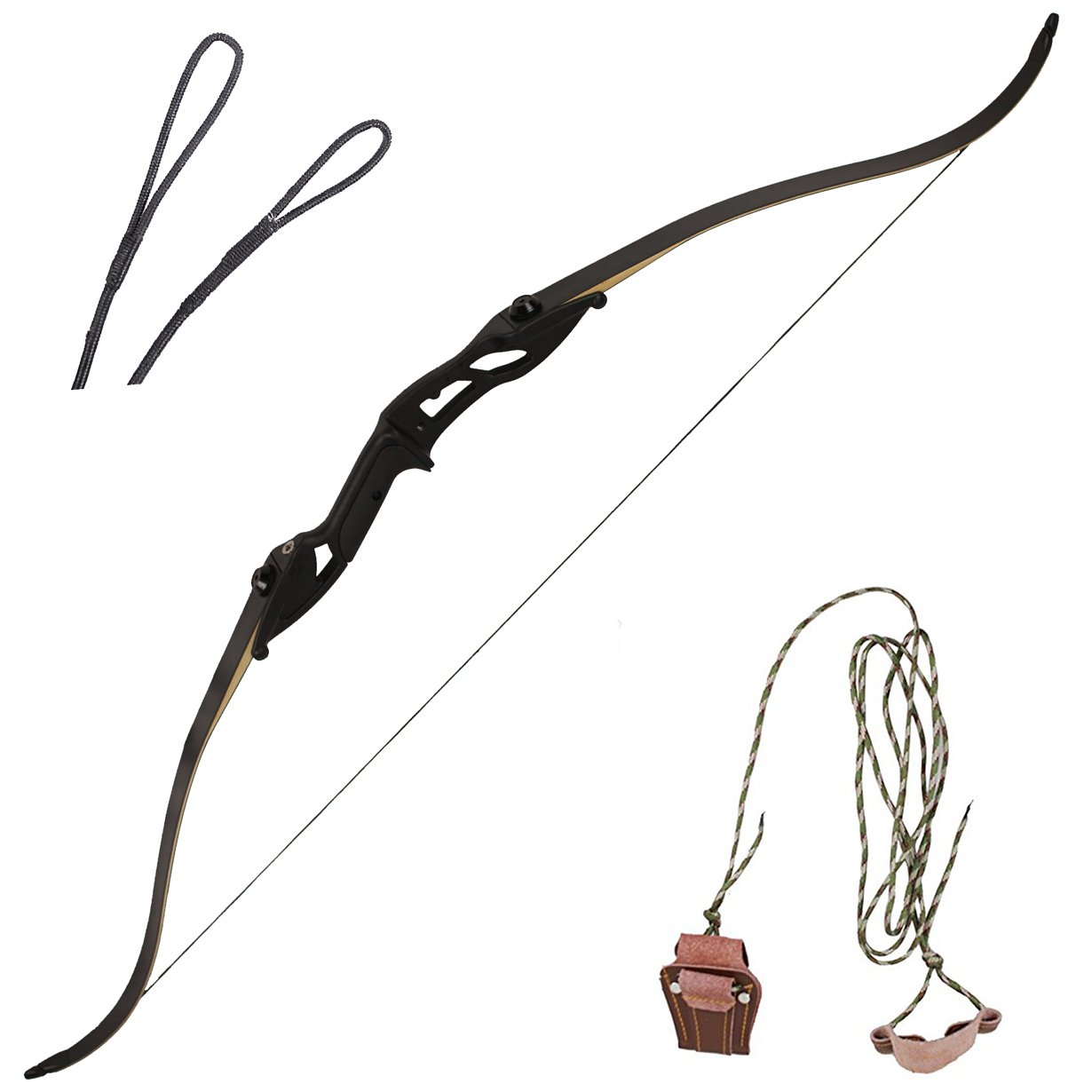 kaimei Hunter Recurve Bow Metal Riser 56 Inch 30-50 lbs Black Right Hand Long Bow Hunting Target (30lb)