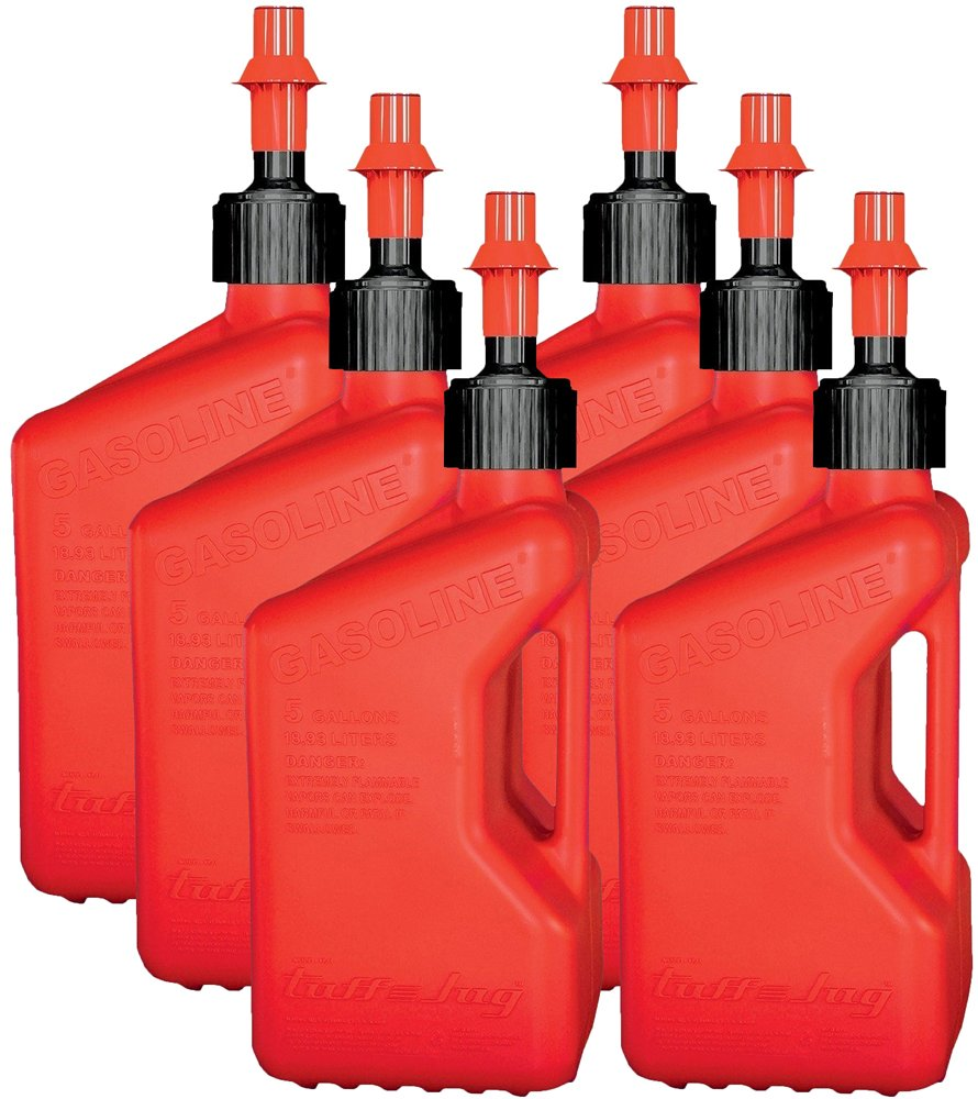 Tuff Jug TJ1R-6PK Red Gasoline Fuel Container - 5 Gallon Capacity, (Pack of 6)