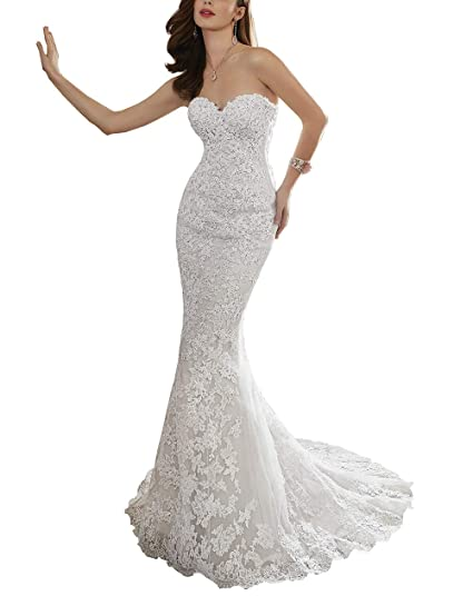 55372b313 Nicefashion Women's Sweetheart Beaded Trumpet Long Tail Weddding Dress 2019  Ivory US2