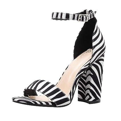 2128455969066 LEERYAAY Peep Toe Zebra Striped High Heel Sandals Buckle Strap Women Square  Heel Shoes