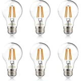 helloify A19 LED Filament Bulbs, 60 Watt Equivalent, Edison Vintage Dimmable Energy Efficient Lamp for Pendant Wall Light Fix