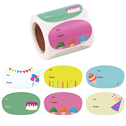 05c3ab233855 WRAPAHOLIC Cute Birthday Gift Stickers - Unique Cute Design Present  Stickers - 6 Different Designs for