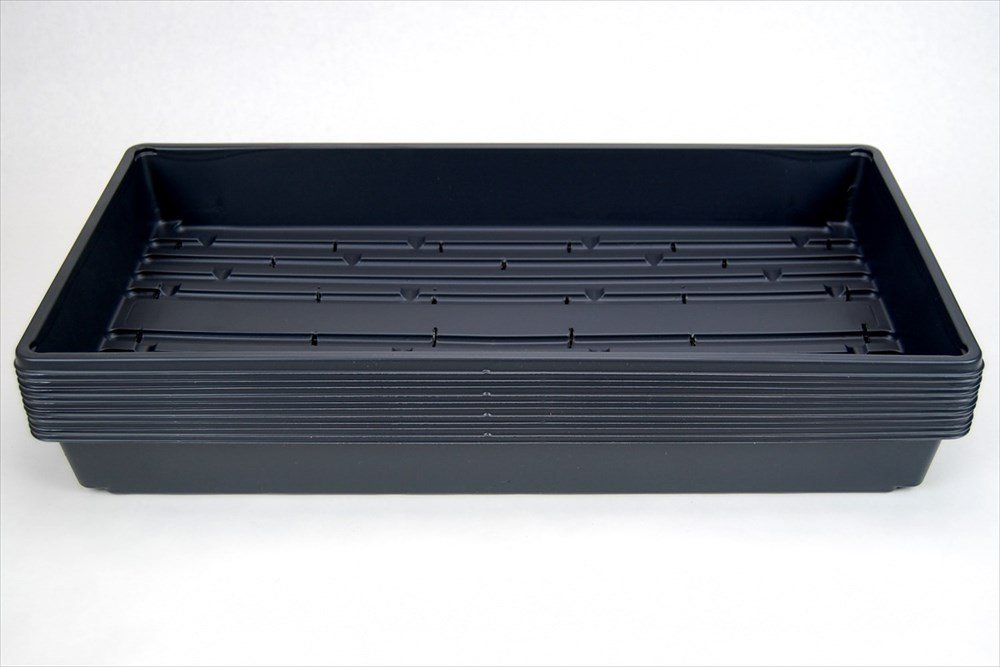 100 Durable Black Plastic Growing Trays (with drain holes) 20'' x 10'' x 2'' - Planting Seedlings, Flowers, Wheatgrass, Microgreens by Living Whole Foods
