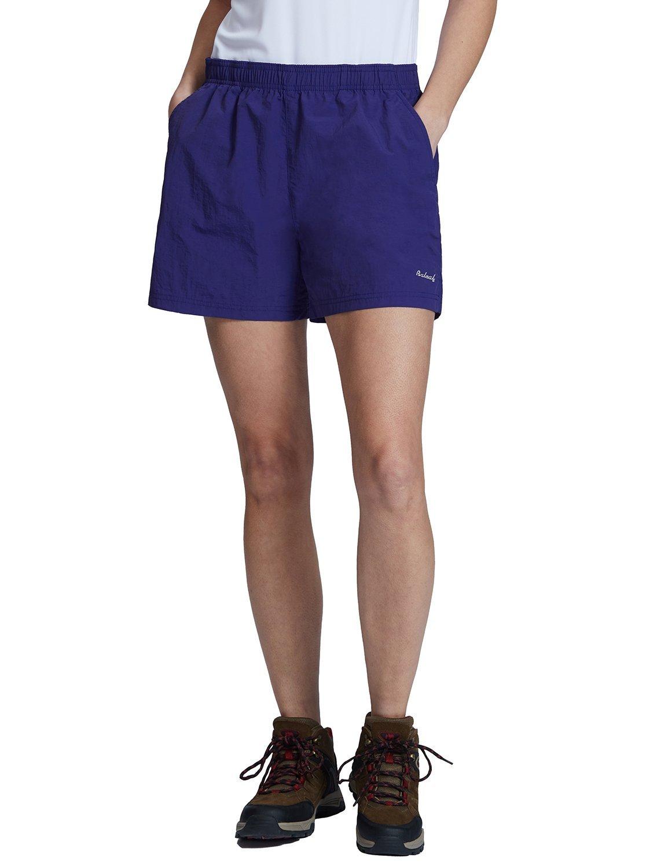 BALEAF Women's Hiking Shorts Zipper Pockets UPF 50+ Quick Dry Navy Purple Size S by BALEAF