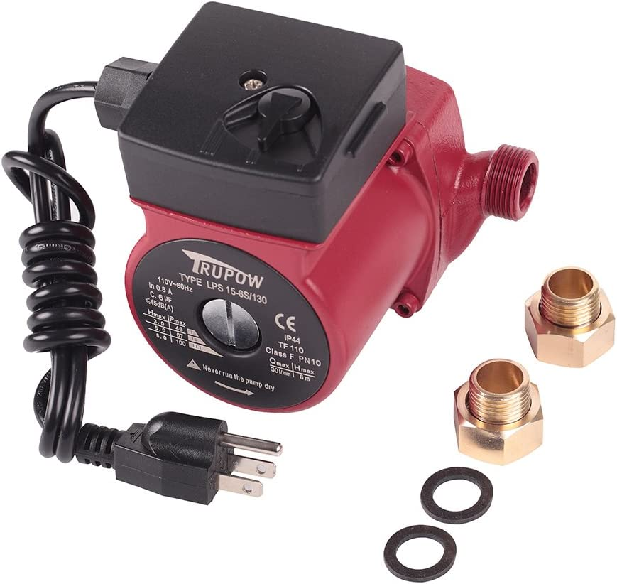 "Trupow 3/4"" NPT 110V Hot Water 3-Speed Circulation Pump Circulator Pump"