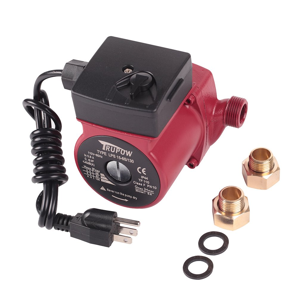 Trupow 3/4 NPT 110V Hot Water 3-Speed Circulation Pump Circulator Pump