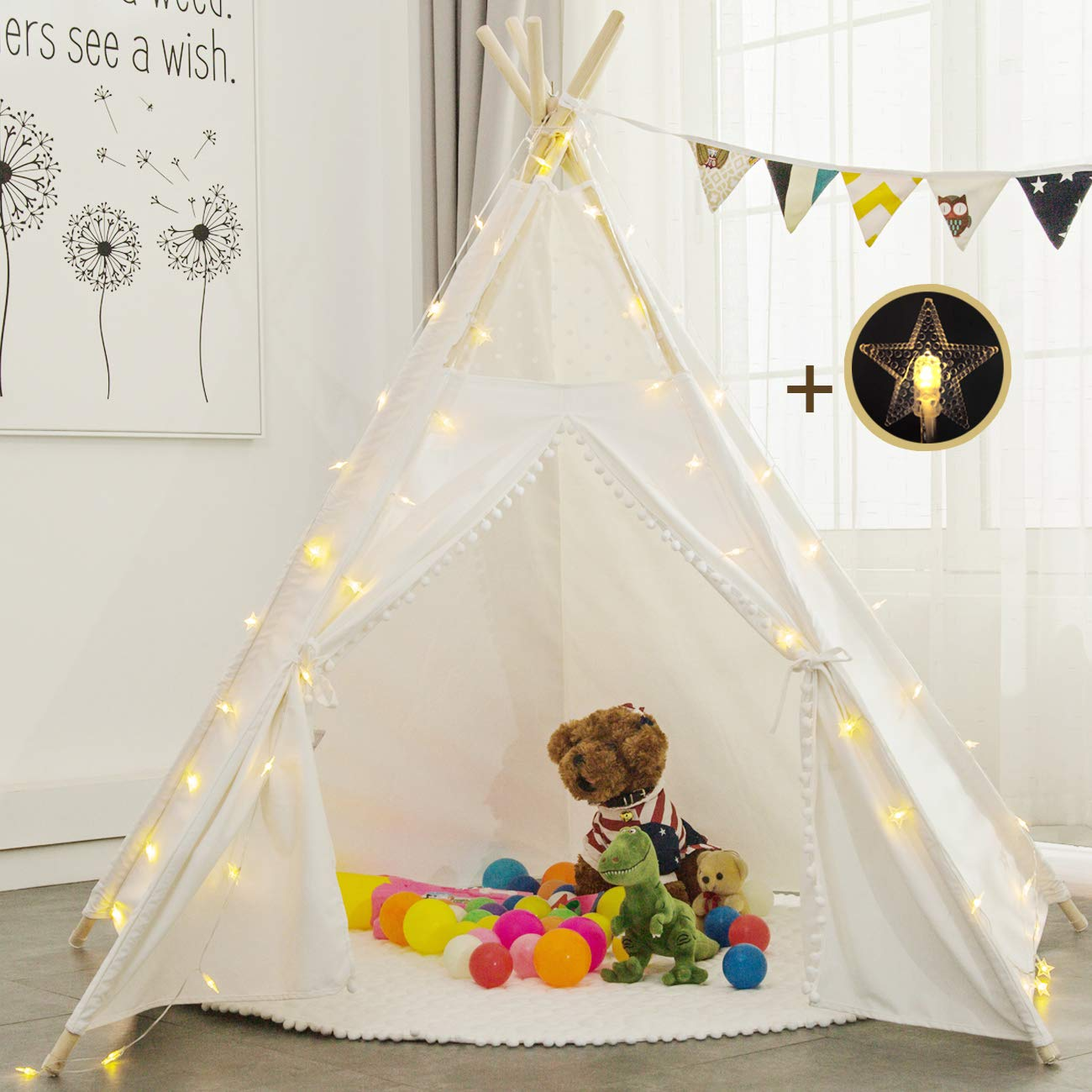Sunnyglade 6' Teepee Kids Tent with 25FT Little Star Light and Cotton Mat /Indoor Outdoor Children Indian Play Tent 5 Wooden Poles Canvas Tipi with Carry Bag & Random Color Flag Children's Day Gift