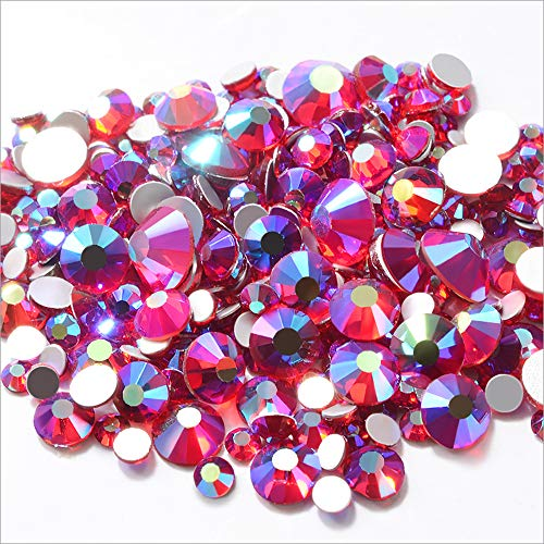(Top Grade Mixed Size 1.5mm-4.6mm 300pcs Red Siam AB Color Crystal Nail Art Rhinestones Non Hotfix Flatback Glass Stones 3D Glitter Decorations Gems for DIY Nails Clothes Shoes)