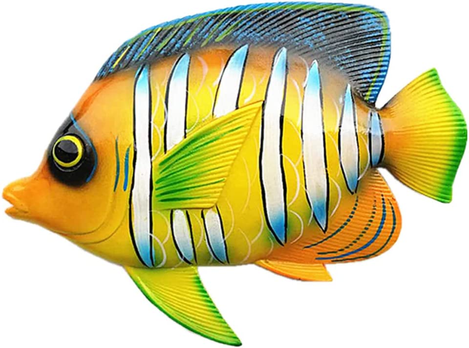 JHhomezeit 11inches Large Tropical Fish Wall Art Decor Sculpture Hanging for Indoor Bedroom Living Room Outdoor Garden Gifts Idea for Best Friends