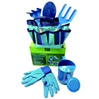 DIS Children's Gardening Tools Set with Bag Gloves Outdoor Garden Flower Vegetable Planting Tools,Set of 5 (Blue)