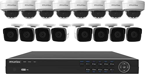 Laview 16 Channel nvr Security Camera System w 16 Security Cameras, 8 4mp Bullet 8 4mp Dome Indoor Outdoor Security Cameras, 100ft Night Vision, Pre-Installed 5TB Hard Drive