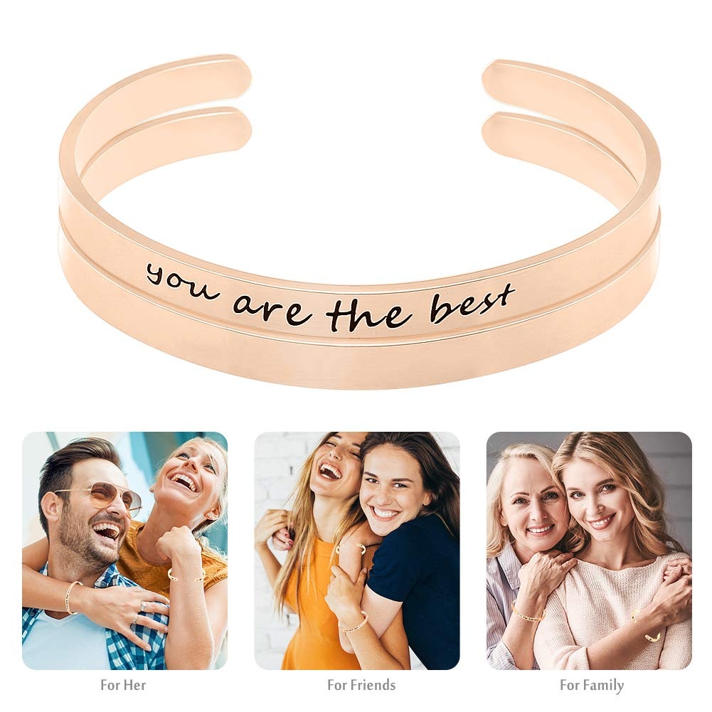 POPSPARK 2 Pieces Women Cuff Bracelets Inspirational Bangle Bracelets Stainless Steel Personalized Engraved Motivational Bangle Encouragement Bangle Jewelry Gift