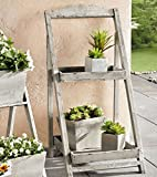 Foldable Wooden Plant Stand for Outdoor or Greenhouse, Two Shelves Product SKU: GD221635