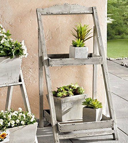 PierSurplus 34 in. Tall Foldable Wooden Plant Stand for Outdoor or Greenhouse, Two Shelves - Large Product SKU: GD221637 by PierSurplus