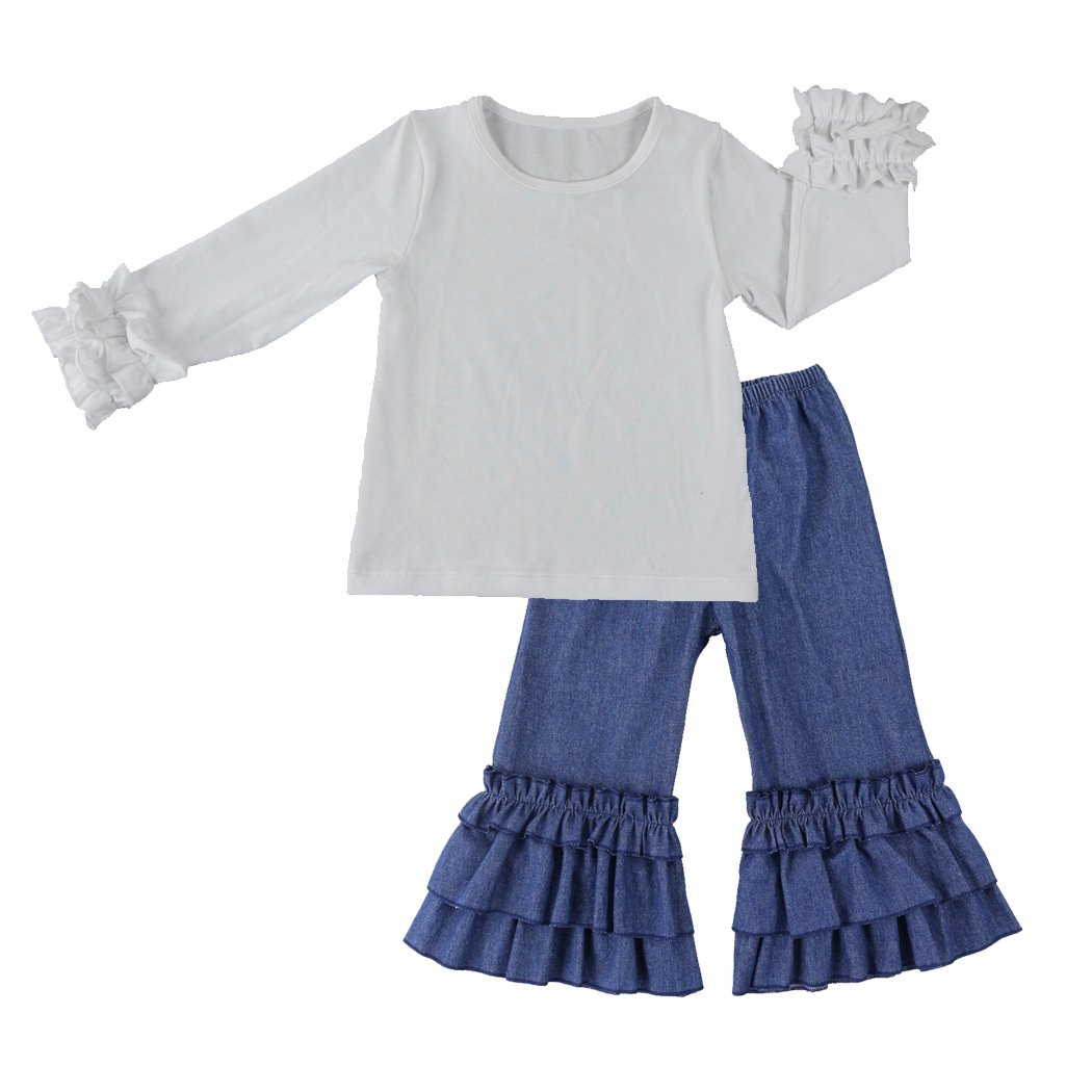 Wennikids Infant Toddler Baby-Girls Denim Fancy Ruffle Flare Pants 1-6T