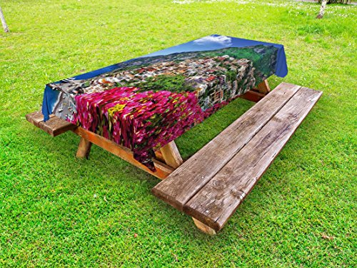 Ambesonne Italy Outdoor Tablecloth, Scenic View of Positano Amalfi Naples Blooming Flowers Coastal Village Image, Decorative Washable Picnic Table Cloth, 58 X 104 Inches, Pink Green Blue ()