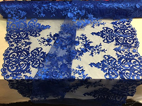 Lace Fabric By The Yard Royal Blue Embroidered On A 2 Way Stretch With Flowers Mesh lace fabric- Bridal Wedding Dress.