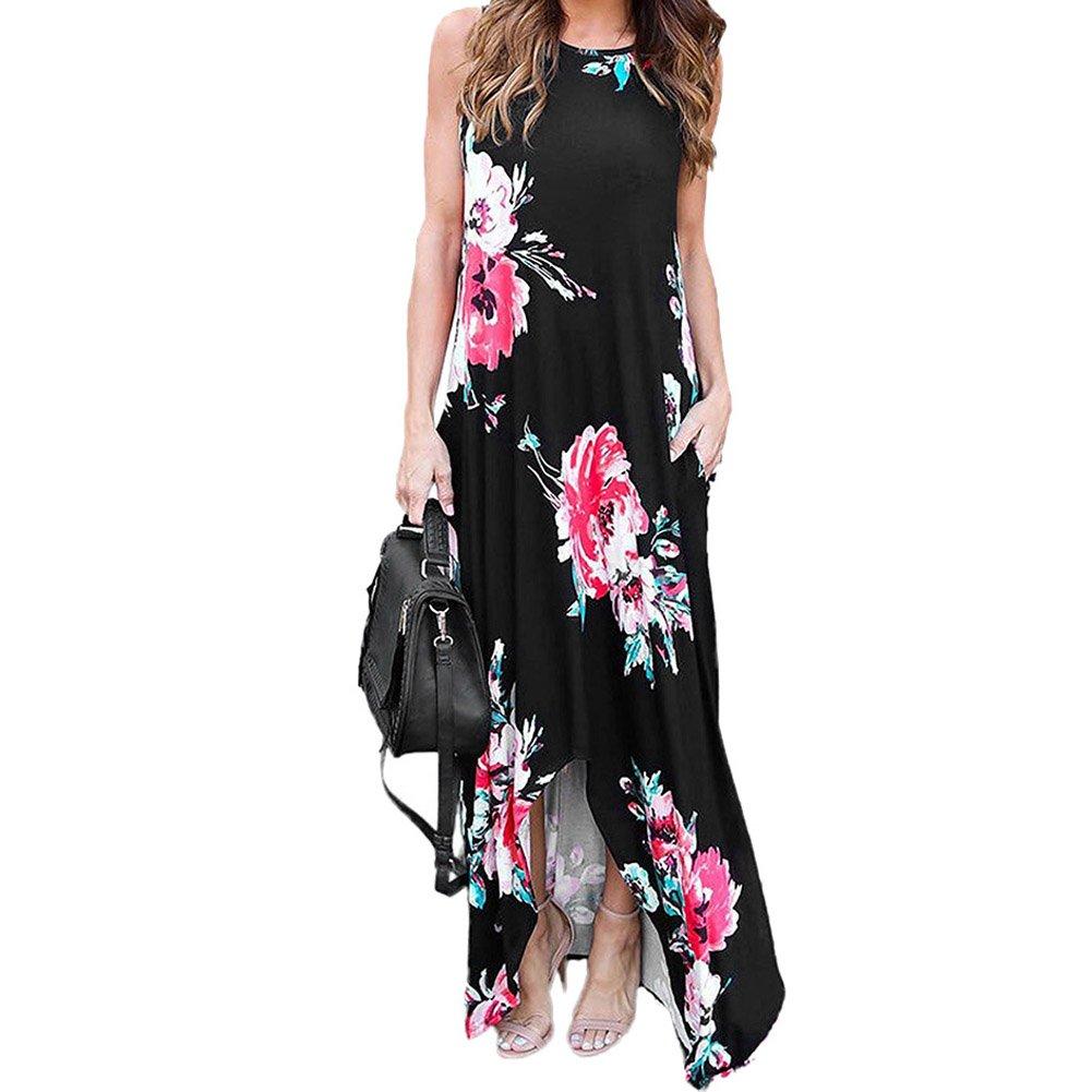 Bodycon4U Women's Boho Summer Casual Sleeveless Floral Tank Racerback Maxi Dresses Black L