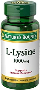 Nature's Bounty L-Lysine 1000 mg Tablets 60 ea (Pack of 2)