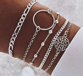 Sterling Silver Loop Bead Necklace Bracelet Set