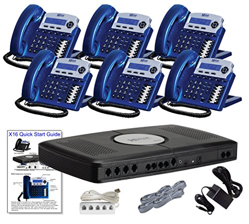 X16 Small Office Phone System with 6 Vivid Blue X16 Telephones - Auto Attendant, Voicemail, Caller ID, Paging & Intercom by Xblue