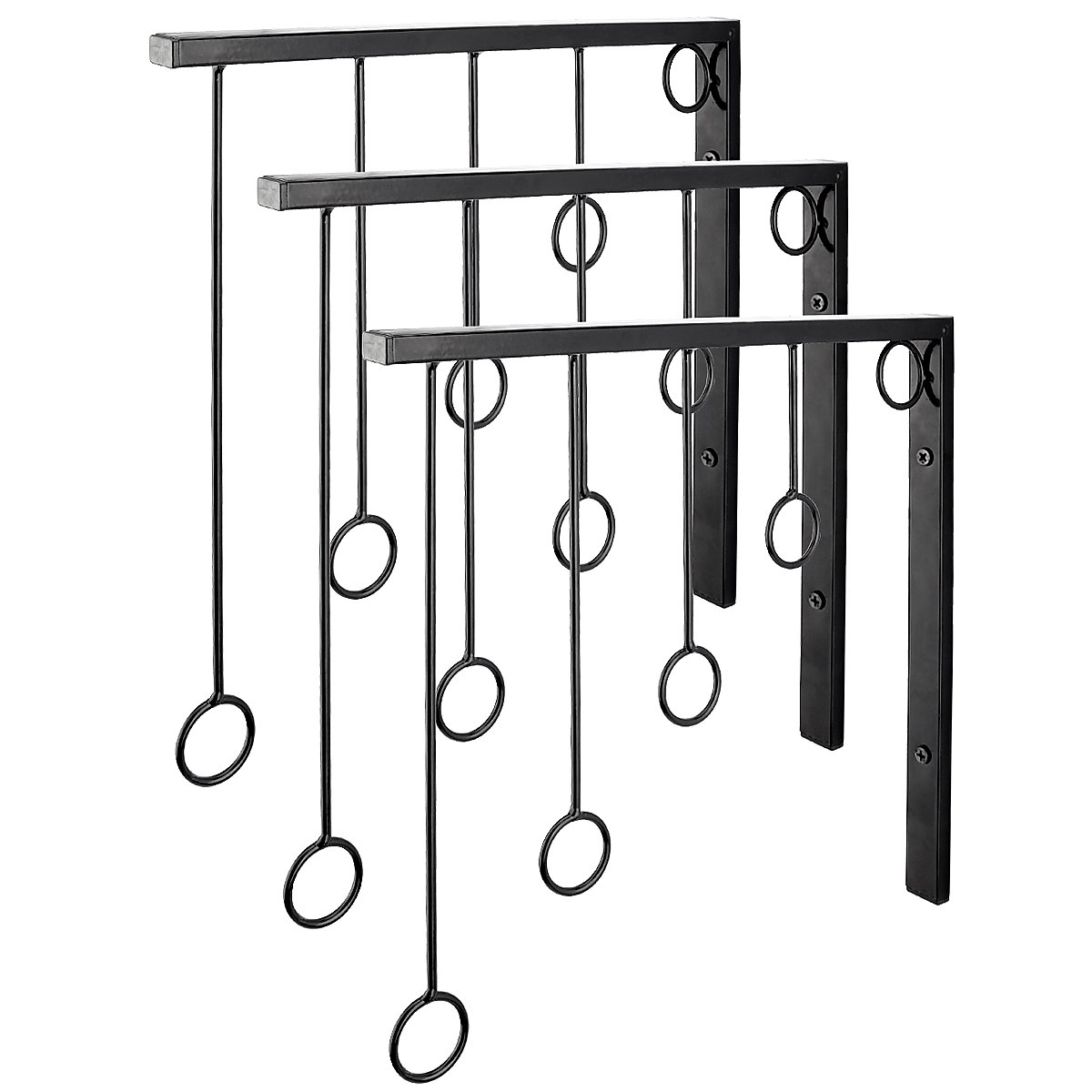 Kernorv Wall Clothing Rack, Wall Garment Racks 5 Rings Hanging Clothing Garment Rack (Set of 3, Black)