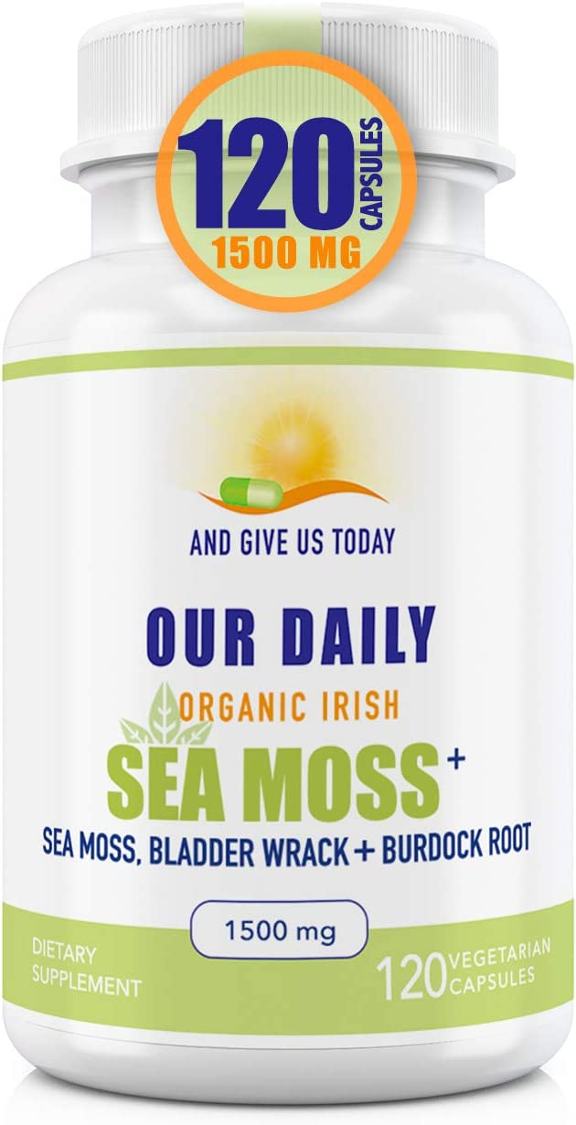Our Daily Vites Organic Sea Moss Plus 1500 MG 120 Ct Wildcrafted Irish Sea Moss Bladderwrack and Burdock Root Capsules Wildcrafted Vegan and Seamoss Superfood Supplement