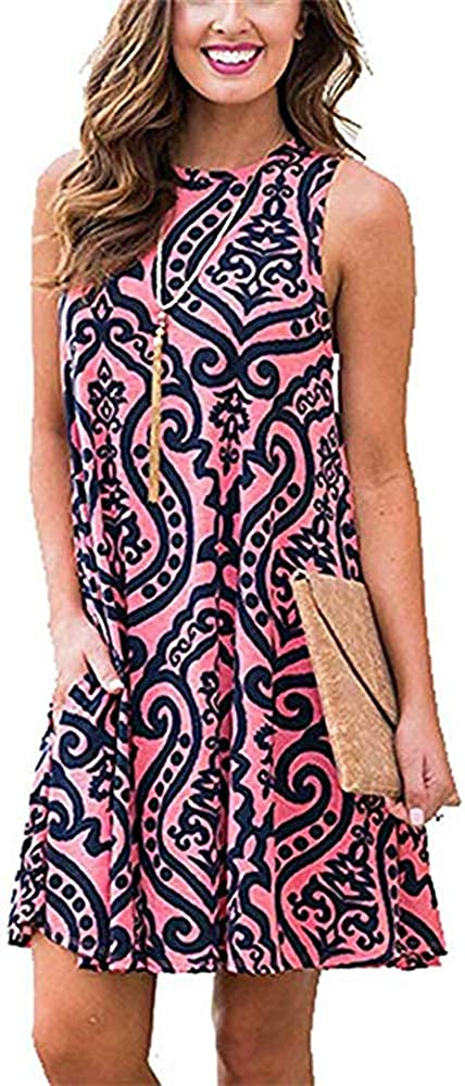 Womens Beach Dresses Summer Tshirt Sundresses Floral Sleeveless Casual Tank Dress with Pockets