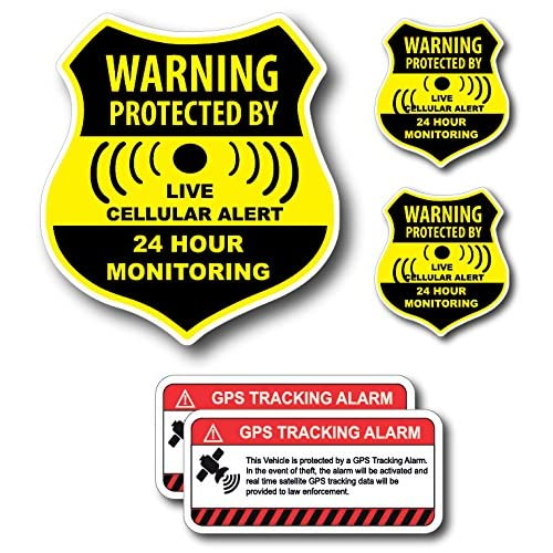 (5 Pack) Combination Pack of 24 Hour Monitoring - This Vehicle Protected by GPS Tracking Warning Signs - Decal Self Adhesive Sticker Vinyl Decal — UV resistent & Waterproof inks for cheap