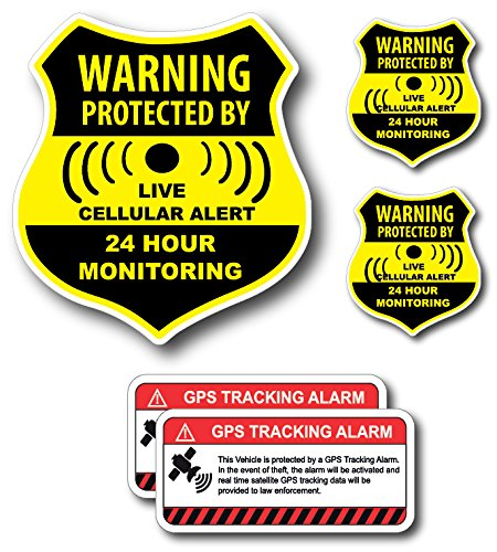 (5 Pack) Combination Pack of 24 Hour Monitoring - This Vehicle Protected by GPS Tracking Warning Signs - Decal Self Adhesive Sticker Vinyl Decal — UV resistent & Waterproof inks - Camera Warning Sticker