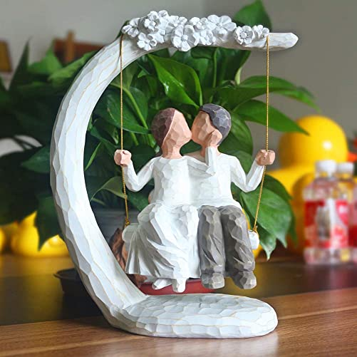 JSYS Anniversary Hand Painted Sculpture Figure, Wedding Gifts for The Couple, 9 Inch Couple Swing Sculpture