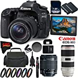 Canon EOS 80D DSLR Camera + 18-55mm Lens + Canon EF 70-200mm f/2.8L IS II USM Lens + 128GB Memory Card International Version