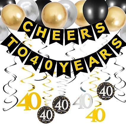 Amazon.com: Kit de decoración de fiesta de 40 cumpleaños ...