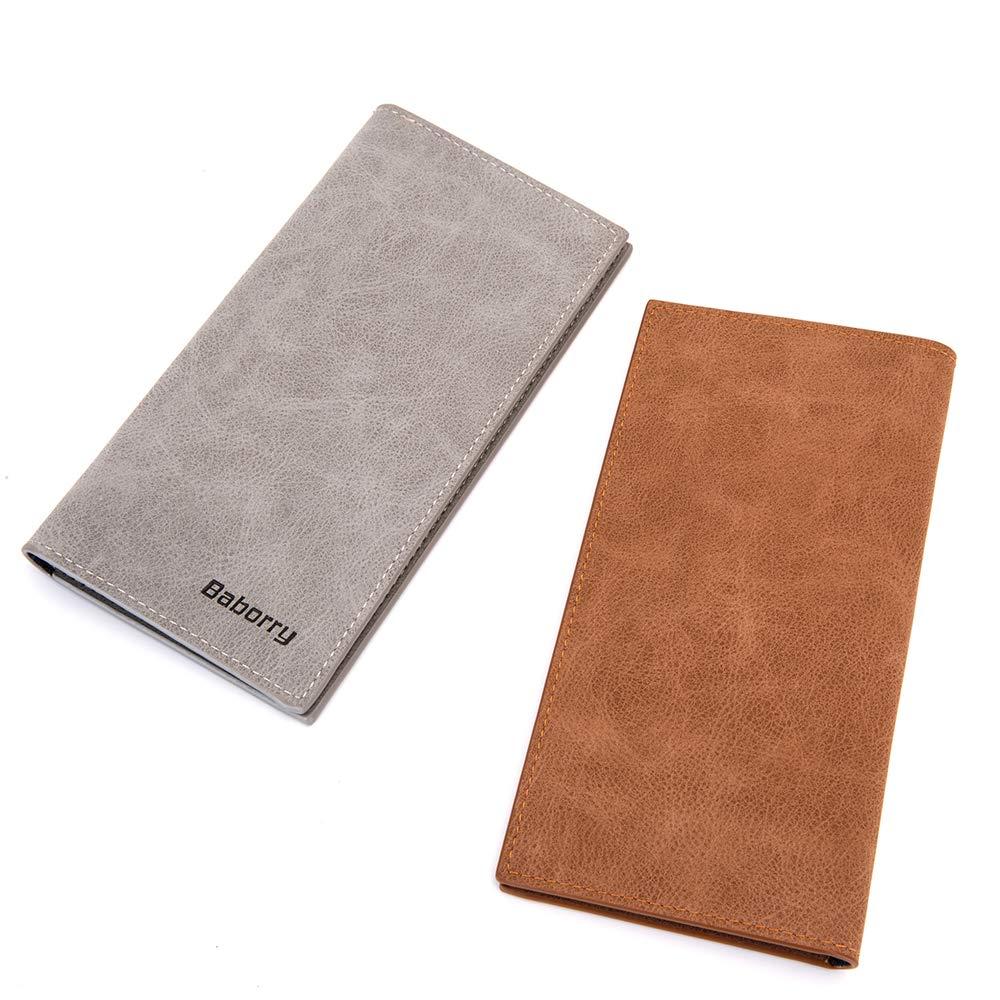 Mens RFID Blocking Vintage Look Genuine Leather Long Bifold Wallet RFID