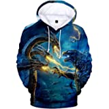 Imilan Boy Novelty Hoodie 3D Printed with Godzilla 2 King of Monsters Hooded Pullover Sweatshirt Unisex