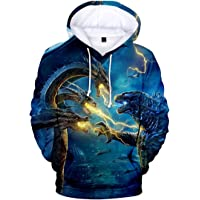 Imilan Unisex Men 3D Hoodie Godzilla 2 King of Monsters Printed Hooded Pullover Sweatshirt Top