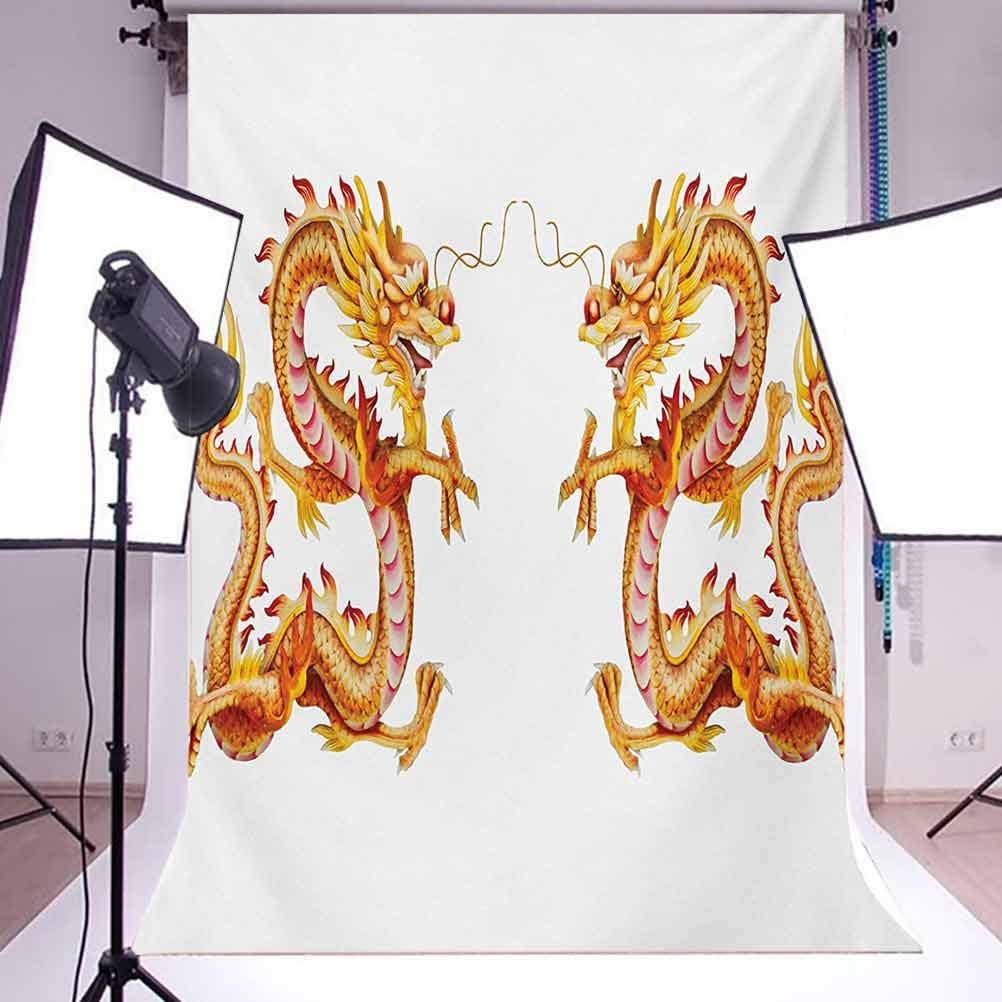 Dragon 10x15 FT Backdrop Photographers,Twin Fire Dragon Zodiac Statues Art Chinese Philosophy Themed Picture Background for Party Home Decor Outdoorsy Theme Vinyl Shoot Props Vermilion Yellow