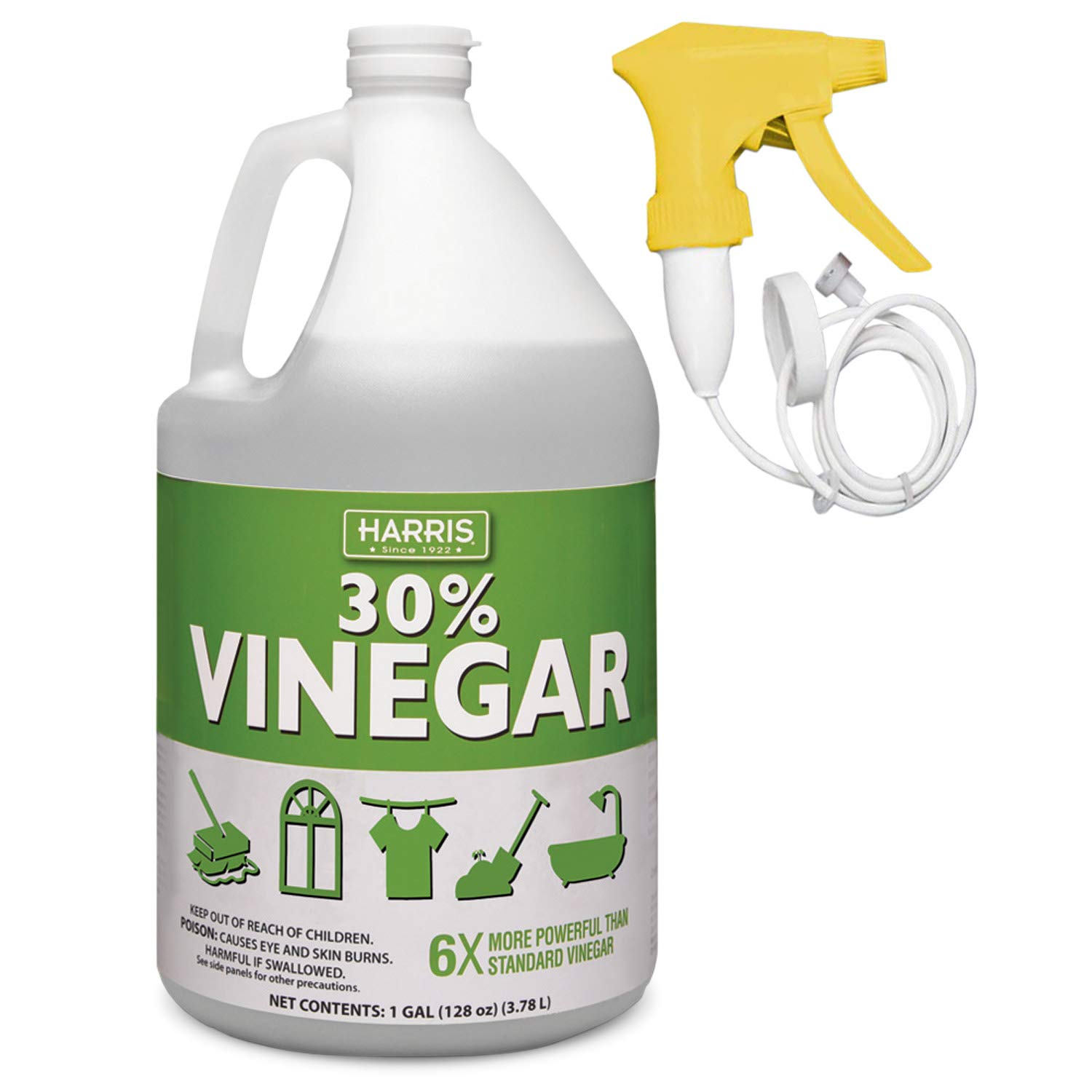 30 Pure Vinegar, Extra Strength by Harris with Trigger Sprayer Included Gallon