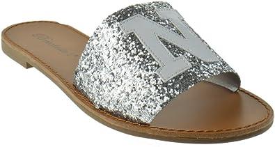 York Slide Sandals Silver