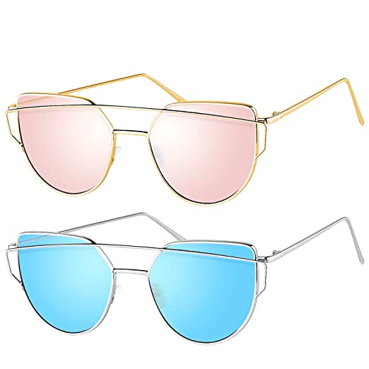Uv For Mirrored Flat 400Non Lenses Polarized Eye Metal Cat Fashion Women Sunglasses Frame Elimoons gvYb6yf7