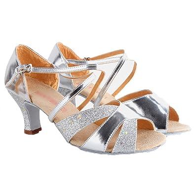 WYMNAME Womens Latin Tanzschuhe,Niedrigen Absätzen [Leise Unten] Ballroom Dance Schuhe Indoor-Sandalen-Golden Fußlänge=24.8CM(9.8Inch)