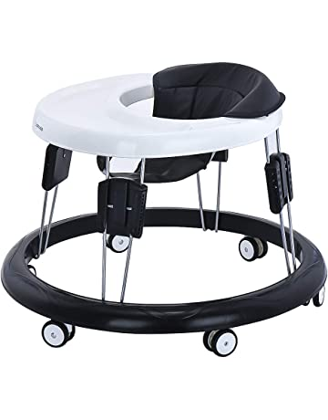 Adjustable Baby Walkers for Baby with Easy Clean Tray, Universal Wheeled Walker, Anti-Rollover Folding Walker for Girls Boys 6-18Months Toddler (Basic, PU Black)
