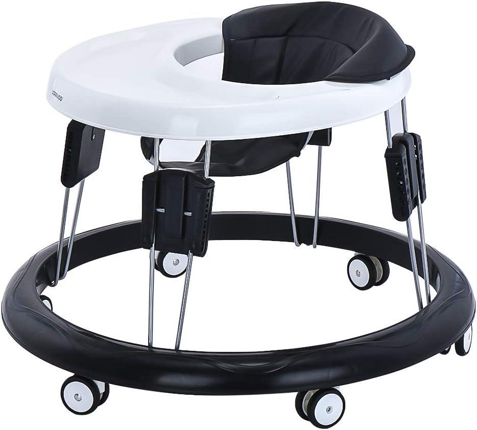Andador para Bebé, Plegable y Regulable en Altura, Andador de Actividades con Wuedas Universales (Cojín negro PU)