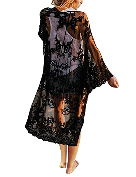 02020340a8 Women's Crochet Floral Lace Bikini Swimsuit Beach Cover Up Long Vintage  Kimono Cardigan Dress