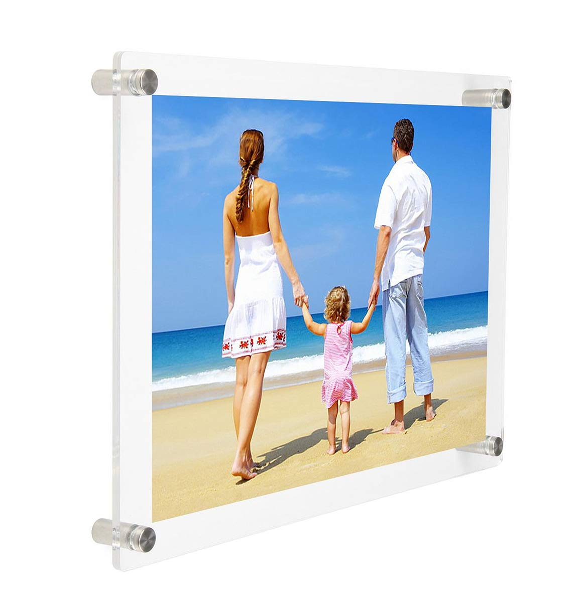 NIUBEE Clear A5 Picture Frame 7×9″, Acrylic Wall Mount Floating Photo Frames for Paper, Photography Display